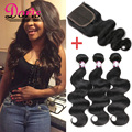 8A Malaysian Body Wave With Closure Free Middle Three Part Closure With Bundles Body Wave Human Hair Extensions Virgin Hair