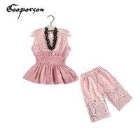 Girls Lace Clothes Set Pink Sleeveless Vest Shirt Lace Floral Pants Slastic Waist Elegant Clothing Suit