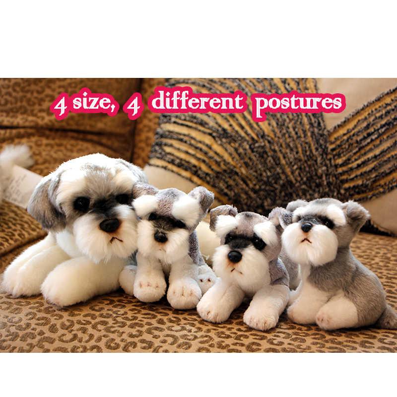 c7c487a40e2b 1 pc Cute Small Schnauzer Puppy Real Life Plush Toy Soft Simulation Dog  Stuffed Kids doll