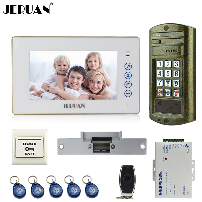 JERUAN 7`` Video Door Phone Intercom System kit Metal panel waterproof password keypad HD Mini Camera +Electric Strike lock jeruan 8 inch video door phone high definition mini camera metal panel with video recording and photo storage function