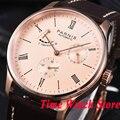 Мужские часы Parnis  42 мм  розовое золото  корпус  дата  запас хода  золотой циферблат  5ATM ST1780  автоматические наручные часы для мужчин  944