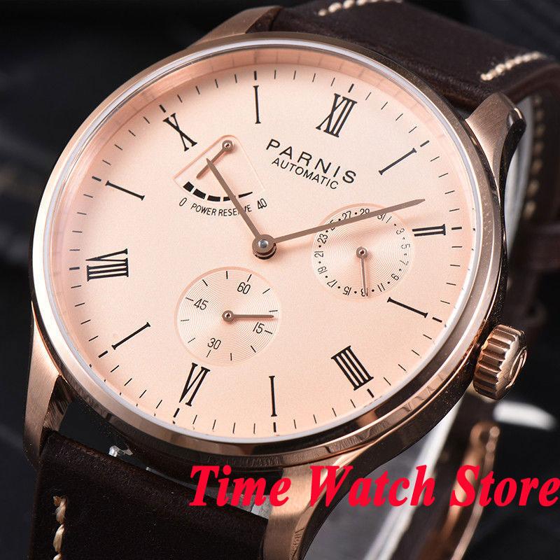 Parnis men's watch 42mm rose golden case DATE Power reserve gold dial 5ATM ST1780 Automatic movement wrist watch men 944 цена и фото