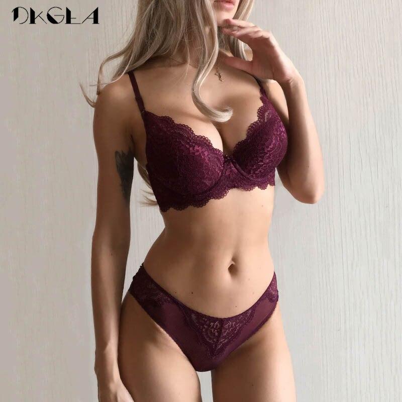 Super Gather Sexy Underwear   Set   Women   Bras   Deep V Purple Brassiere Thick Push Up   Bra   Panties   Set   Lace Embroidery Lingerie   Sets
