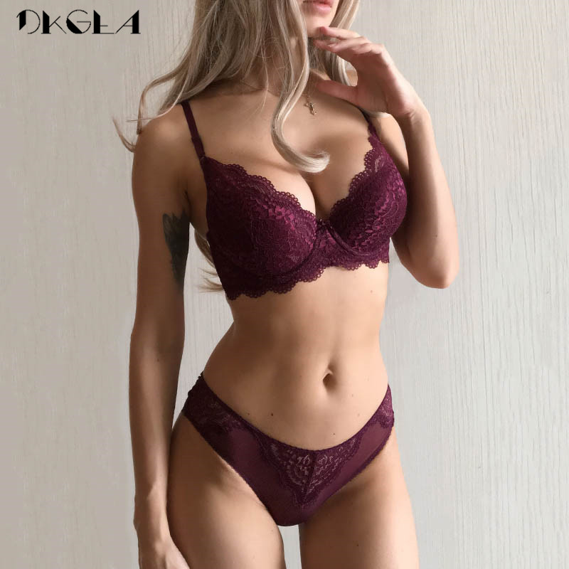 bbbcfe2fe1ae Super Gather Sexy Underwear Set Women Bras Deep V Purple Brassiere Thick  Push Up Bra Panties