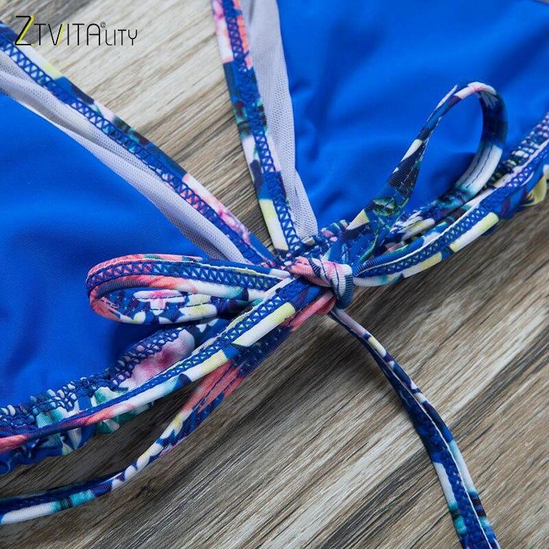 ZTVitality Estampado floral de malla Patchwork Sexy Push Up Bikini - Ropa deportiva y accesorios - foto 5