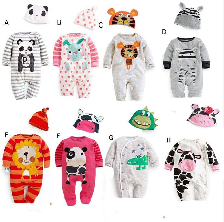 2016 yeni yenidoğan giyim bebek erkek giysileri bebek kız romper karikatür rahat tulum renkli şapkalar giyim setleri