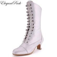 White Ivory Black Boots Women Knee high Calf Closed Toe Low Heel Satin Bride ladies Wedding Bridal Shoes Autumn Winter MB-039