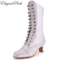 White Ivory Black Boots Women Knee high Calf Closed Toe Low Heel Satin Bride ladies Wedding Bridal Shoes Autumn Winter MB 039