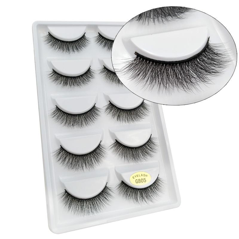 SHIDISHANGPIN 1 box mink eyelashes 5 pairs 3d mink lashes natural long false eyelashes full strip lash makeup eyelash extension
