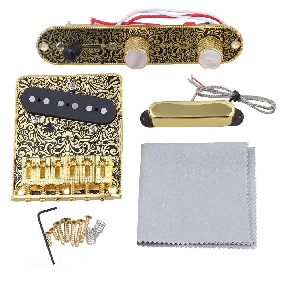 Plaque de commande en or noir guitare tréolo pont ensemble de remplacement de ramassage