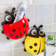 Toothbrush Holder Hot!New 2017 Cute Cartoon Sucker Ladybug Bathroom Set High Quality Hot Sale Wholesale Free Shipping,M 13