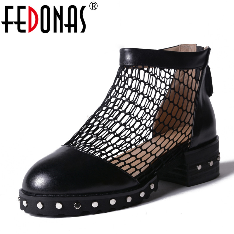 FEDONAS Women Genuine Leather Shoes Woman Pumps High Heels Gladiator Summer Ankle Boots Black White Zipper Round Toe Sandals black women wedge slippers 12cm high heel platform pumps genuine leather shoes woman gladiator sandals slides wedges creepers