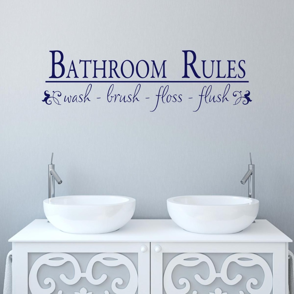 How to keep a clean bathroom - Bathroom Rules Wash Your Hands To Keep Healthy Wallpapers Decals Cleaning Washroom Stickers Removable High Quality Murals S 352