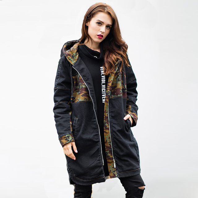 2016 Winter long Denim coat camouflage hooded Quilted outfit female outerwear casual jeans padded overcoat top plus size XXXXXL
