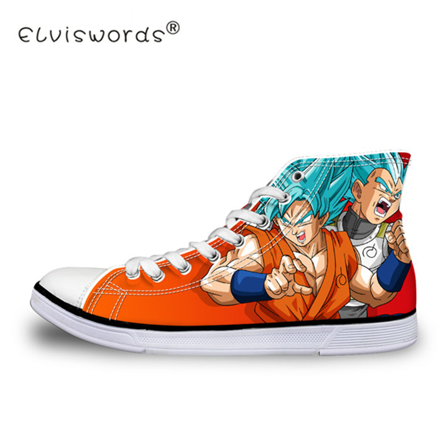 ELVISWORDS Anime Yellow Dragon Ball Z Print Mens High top Vulcanized Shoes Cool Super Saiyan Son Goku Canvas Shoes for Men Boy in Men 39 s Vulcanize Shoes from Shoes