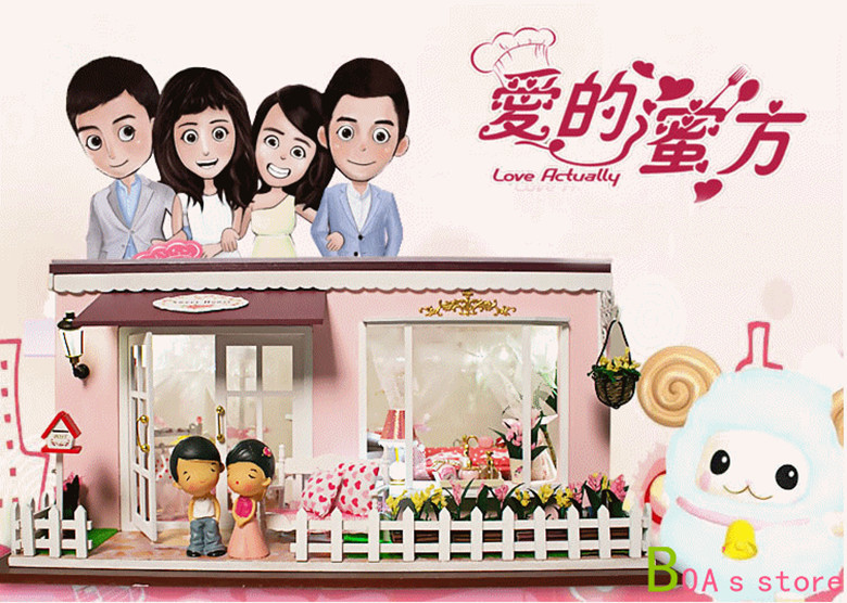 Free Shipping Diy Doll House Miniature honey side of love Acoustic assembled by hand proposed model