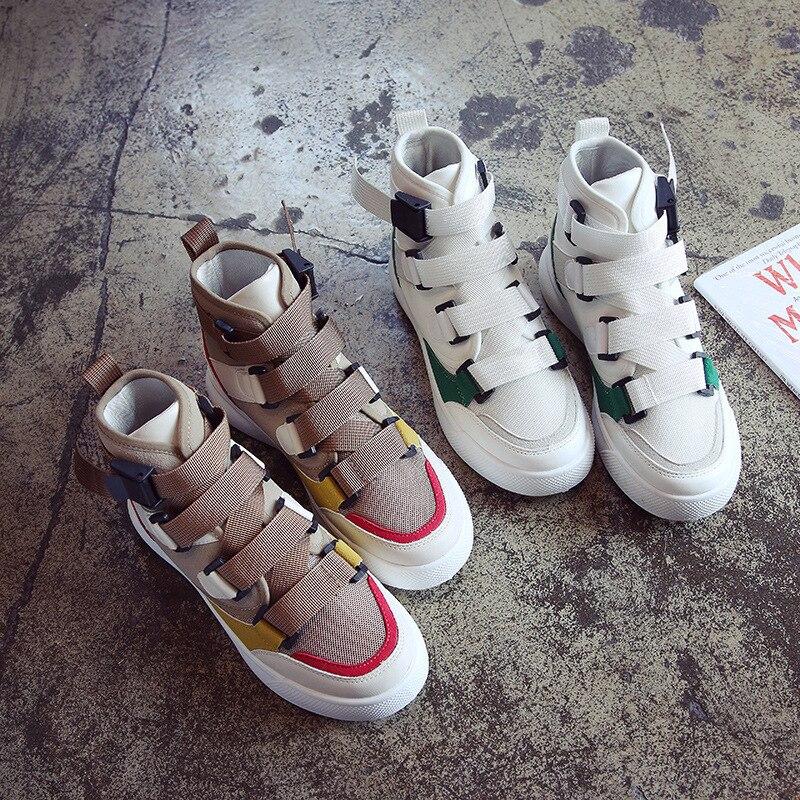 37b60a5dd96 Botas Mujeres Deporte Lona Los Plataforma Moda De Al Aire marrón Hop Las La Zapatillas  Zapatos Vulcanizar Mujer ...