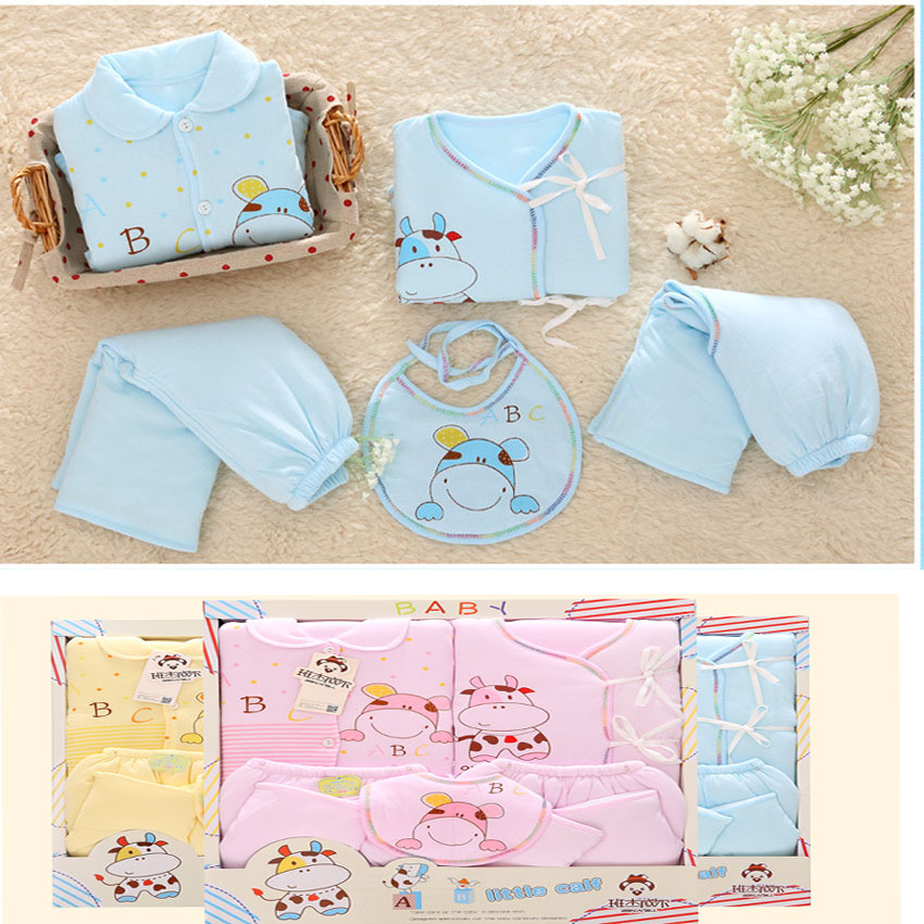 100% Cotton New Born Baby Clothes Sets Full Baby Girl Clothes 5 pcs Winter Warm New Born Bodysuit Roupa Infantil vestido 2016