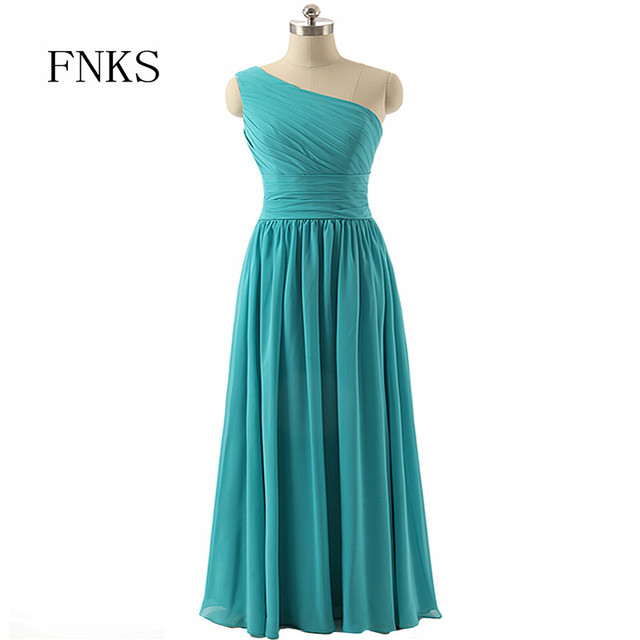 eb76f951992 New Arrival Bridesmaid Dresses Long One Shoulder Floor Length Simple Gown  Cheaper Party Dress Formal Elegant Chiffon Gowns