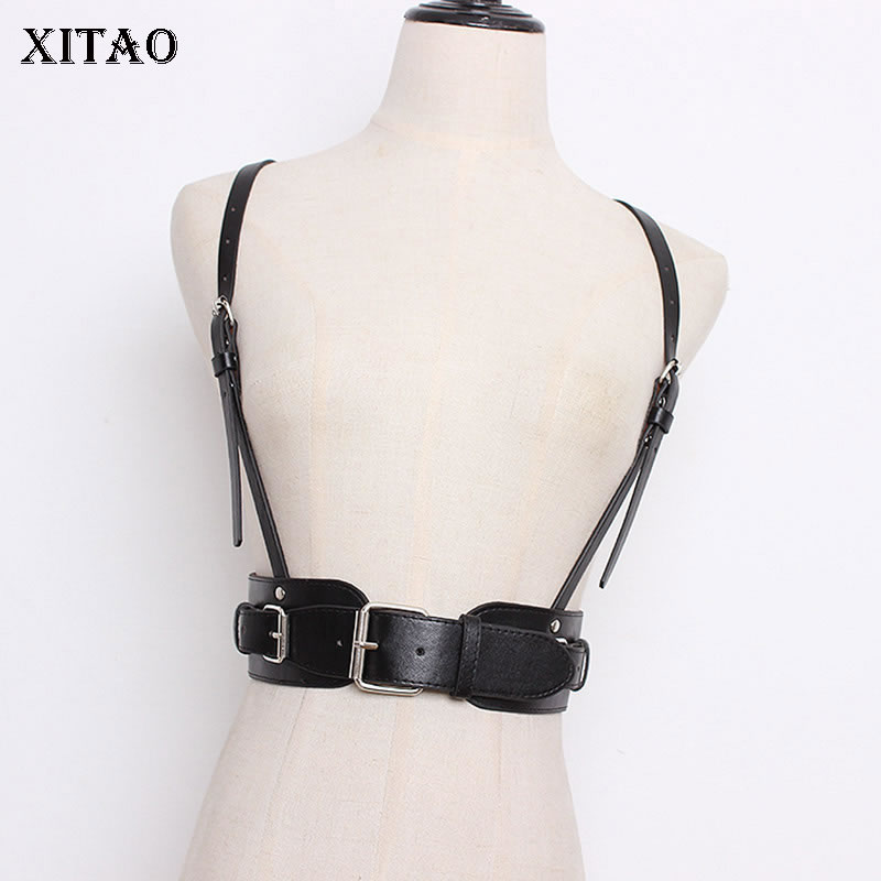 [XITAO] Double Buckle PU Leather Adjustable Personality Strap Cummerbunds Female Solid Color Fashion Casual Cummerbunds DLL2378