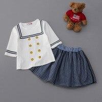 2017夏のファッションの女の子服セット五分袖ブラウスシャツ+チュチュ格子縞のスカート子供学校服スーツキッズ服