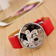 Cute cartoon mickey mouse multiple colour leather Digital watch Bear boy girl Student Holiday Gift women quartz Clock