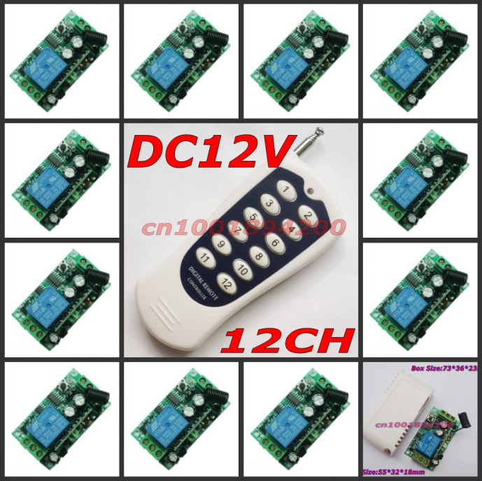 12V  1CH RF wireless remote control switch system 12 receivers&1 transmitter independently control Momentary Toggle 315/433mhz new ac 220v 30a relay 1 ch rf wireless remote control switch system toggle momentary latched 315 433mhz