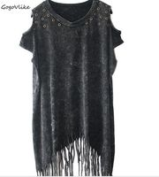 Off Shoulder Punk Rivet Rock Loose Tank Top Vintge Long Tassel Cutout Hole Long Sleeve Water