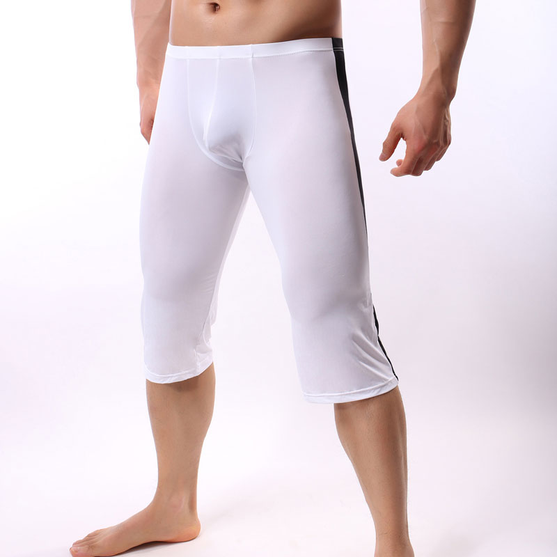Men's Sexy Ice Silk U Convex Pouch Pants Sexy Half Long Pants Transparent Patchwork Tights Leggings For Cool Male Gay Wear F13