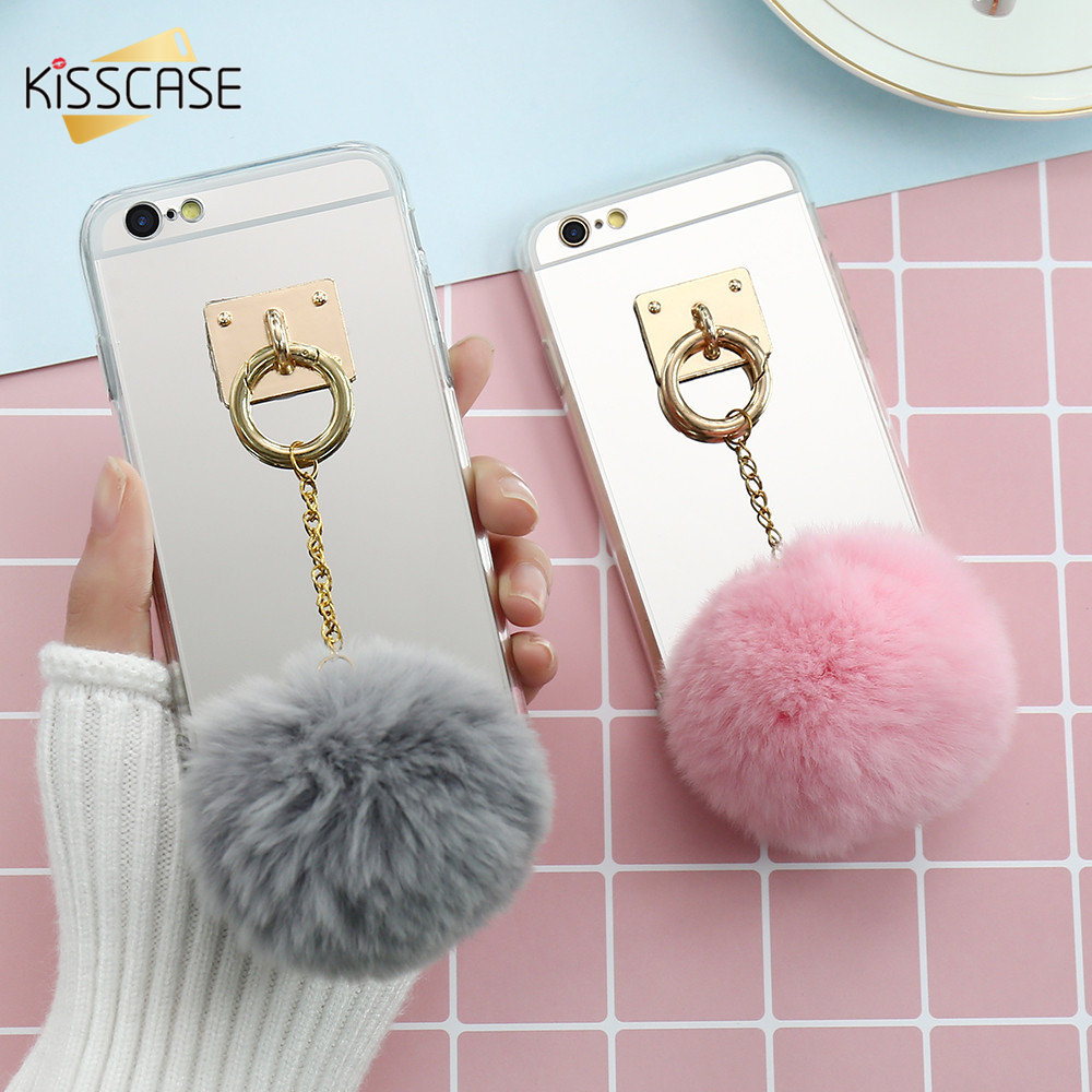 KISSCASE Luxury Furry Case For iPhone 7 6 6s Plus Fur Ball Mirror Phone Cases For iPhone 6 6s 7 Plus Case For Samsung S8 S8 Plus