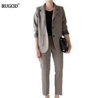 RUGOD Women Elegant Business Set 2017 New Fashion Casual Long SleeveJacket Pants Set Ladies Blazers Work