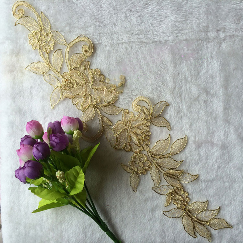 10Pcs High Quality Brand New Embroidery Applique Lace Collar Neckline Gold Sewing Accessories DIY Decoration