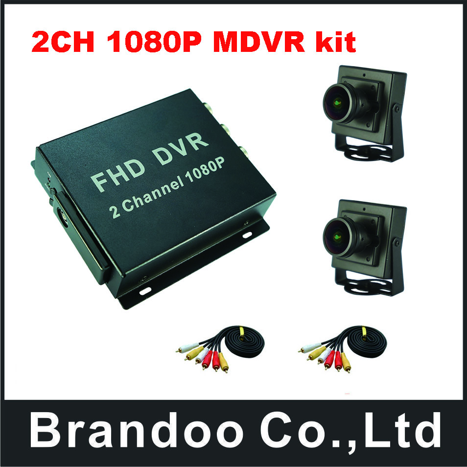 2CH 1080P mobile DVR kit,with 2pcs 160degree view angle AHD camera