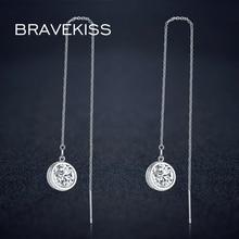 BRAVEKISS, круглый кристалл, подвеска, висячие серьги, длинная цепочка, висячие серьги для женщин, CZ, очаровательные серьги, серьги для пирсинга, простые, BUE0205