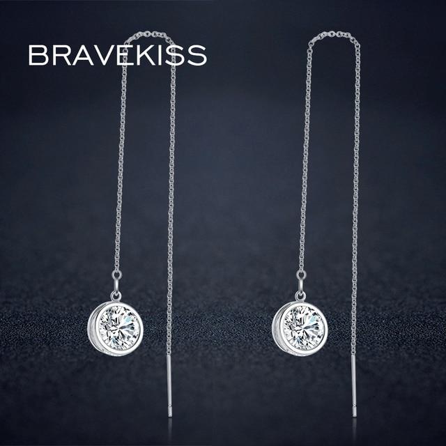 BRAVEKISS Round Crystal Pendant Dangle Earrings Long Chain Drop Earrings Women C