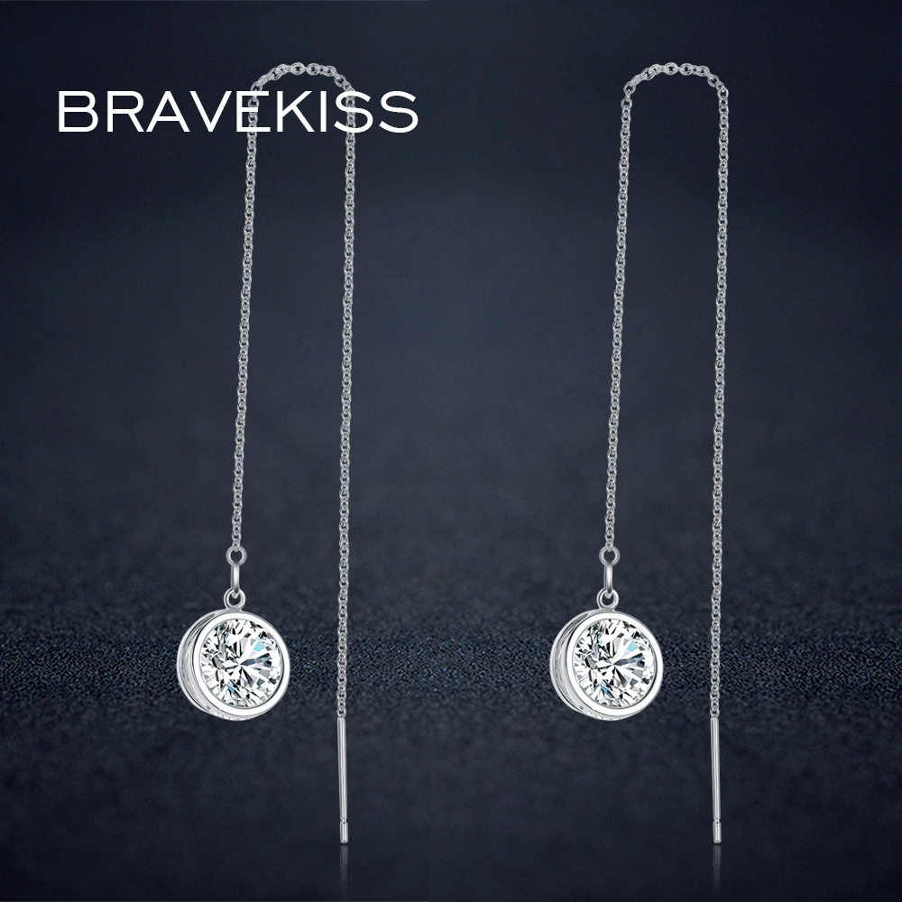 67d6019fea7e Bravekiss ronda colgante de cristal cuelga los pendientes de gota de cadena  larga mujeres CZ encanto pendiente piercing pendientes simple BUE0205