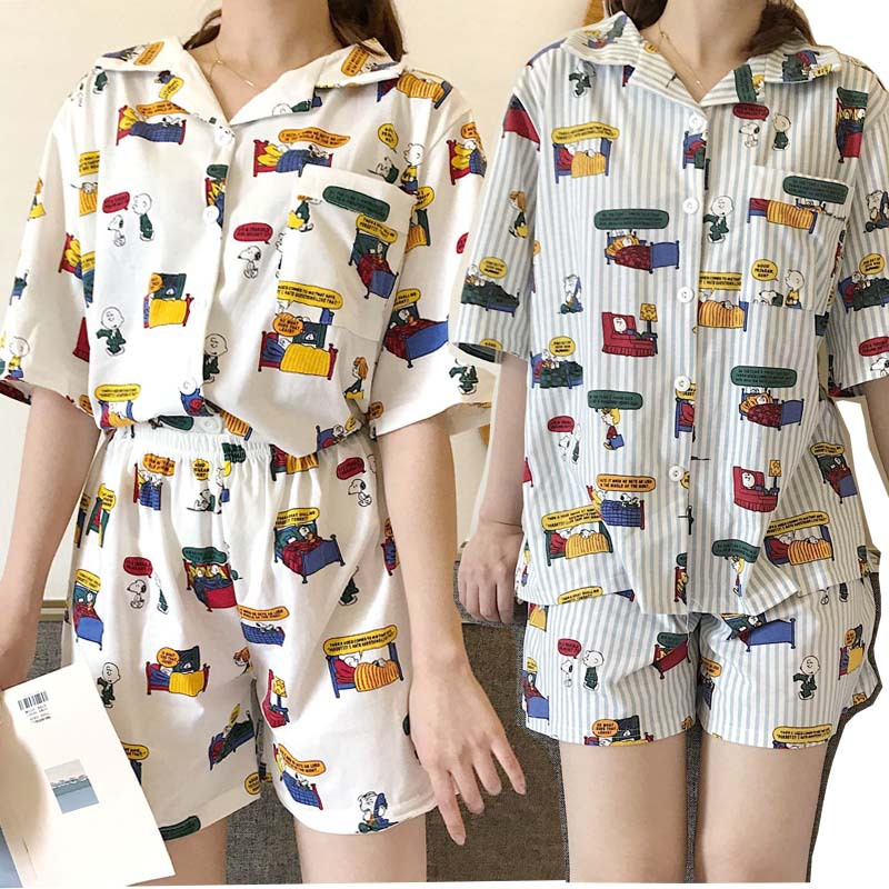 2019 summer women   pajamas   suit cute comic cartoon short-sleeved shirt + shorts 2 pcs cotton   pajamas     set   home clothing printing
