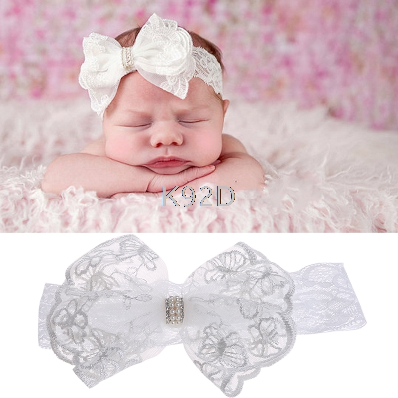 Turban Toddler Girls Bow Faux Pearl Headwear Baby Kids Headband Lace Hair Band N03