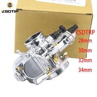 ZSDTRP Motorcycle Universal 28 30 32 34mm PWK Carburetor for Mikuni Model 100 300cc Motorcycle Scooter UTV ATV (Silver)
