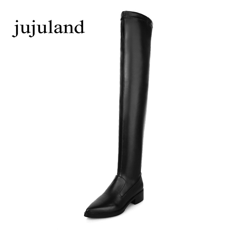 Spring/Autumn Women Shoes Knee-High Boots Long Boots Genuine Leather Flock Nubuck Slip-on Pointed Toe Big Size Med Heels Solid memunia 2017 fashion flock spring autumn single shoes women flats shoes solid pointed toe college style big size 34 47