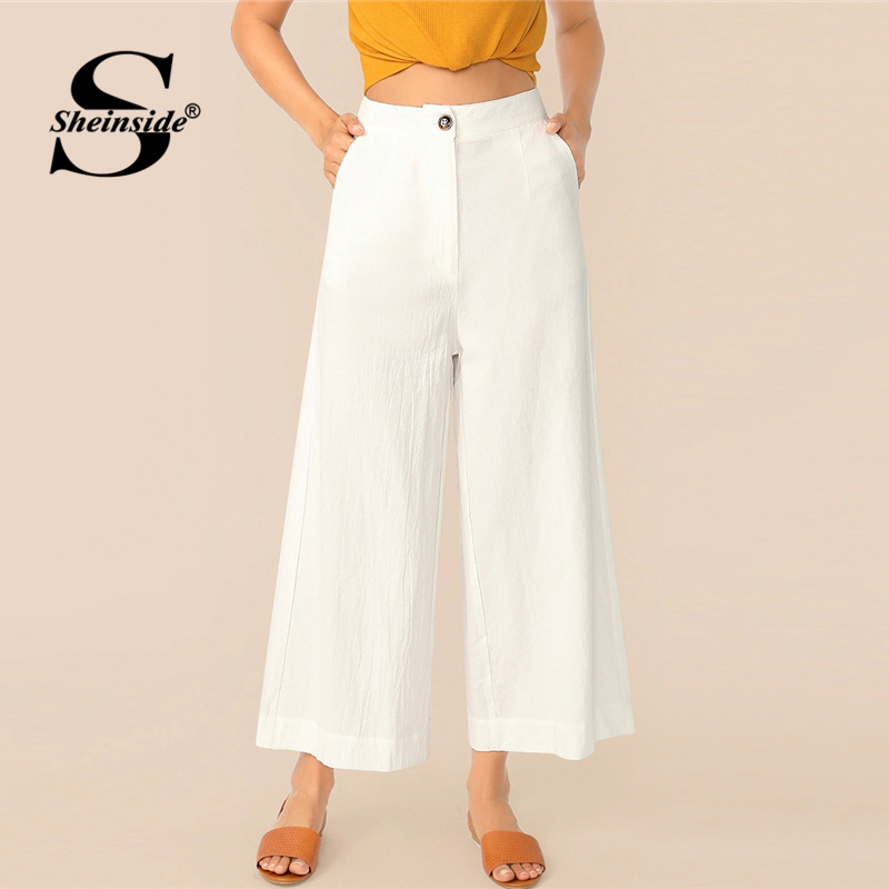 Sheinside White Casual Button Up Wide Leg Pants Women 2019 Summer Mid Waist Crop Trousers Office Ladies Solid Minimalist Pants