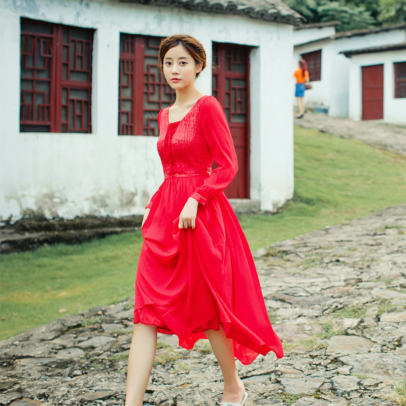 2016 autumn women red Christmas party long dress Retro vestido de festa ukraine girls maxi office dress