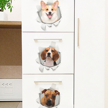 3D effect Hole View Dogs Cats Wall Stickers For Toilet Bathrooms Decoration  Kitchen Decor Refrigerator Mural Art Decals