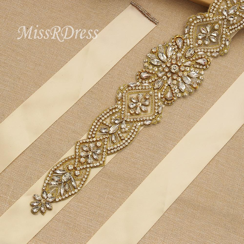MissRDress schitterende bruidsjurk riem goud kristal strass linten - Bruiloft accessoires - Foto 3