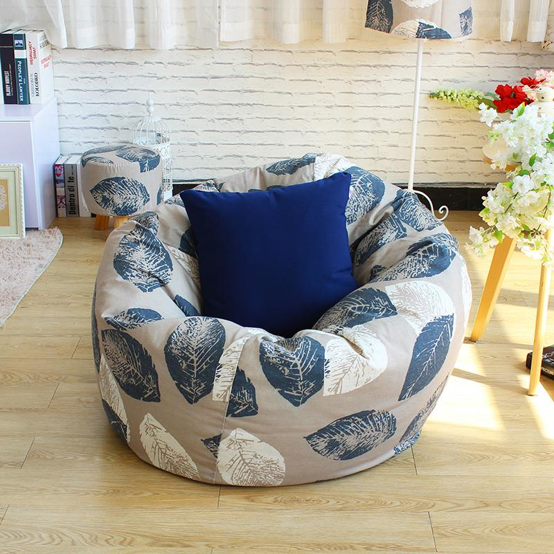 Blue leaves Style Bean Bag Chair Garden Camping Beanbag Cover And The lazy Sofa Cover Can