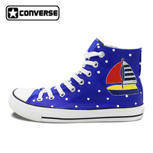 Converse All Star Shoes Original Design Hand Painted Wave Point Sailing Boat Canvas Sneakers Men Women Skateboarding Shoes