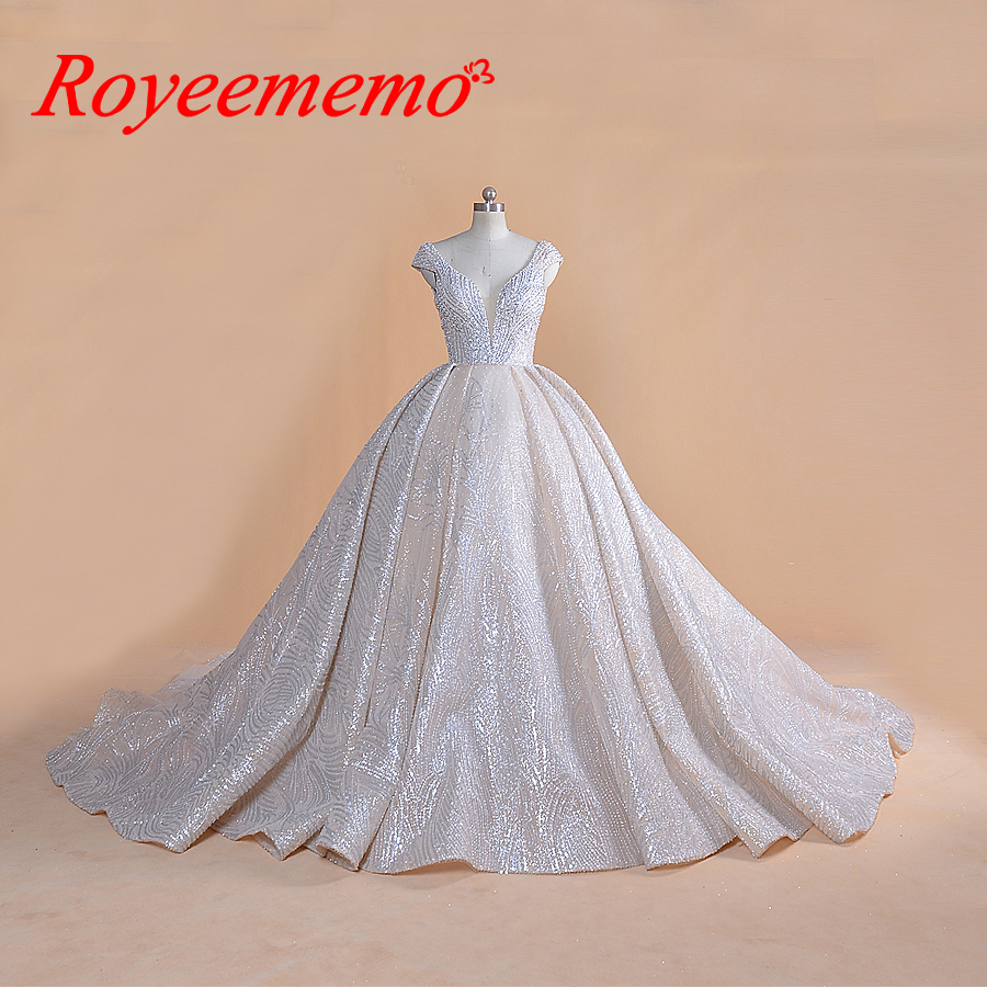 Glitter Wedding Gowns: 2019 New Luxury Design Ball Gown Full Beading Royal Train