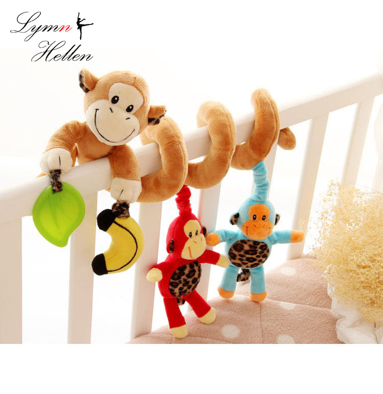 Happy Monkey 80cm Baby Rattle Plush Toy Stuffed Doll Monkey Puzzle Toys Sozzy Bed Revolves Hanging Toys Infant Hand Bell Gifts