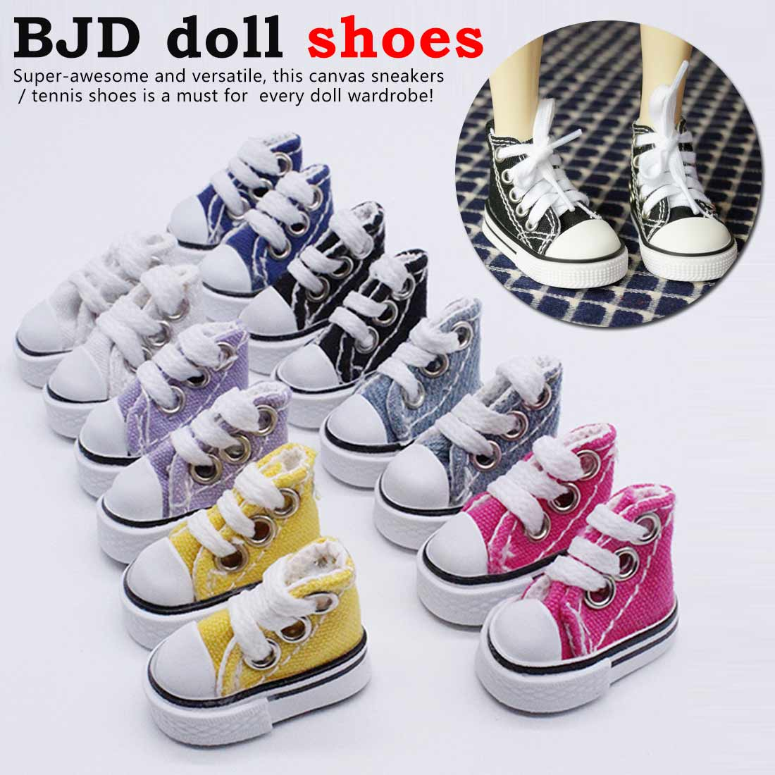 Cute Canvas Lace Up Sneakers Shoes For Dolls Canvas Sneakers Shoes Baby Toy Canvas Doll Sneakers