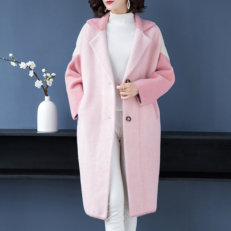 Brand Coat Fall Winter Women Coat New Fashion Hit Color Lapel Coat Single Breasted Thicken Warm Loose Wild Long Outerware Female